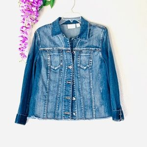 Chico's raw hem plus size denim jacket